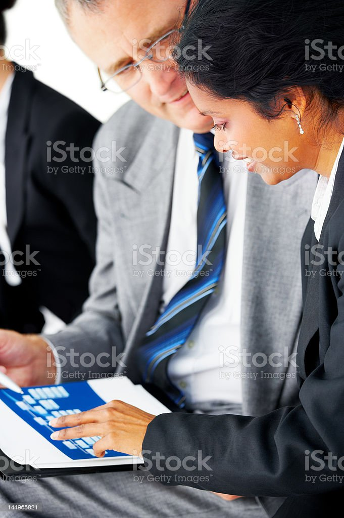 Businessman discussing with a businesswoman royalty-free stock photo