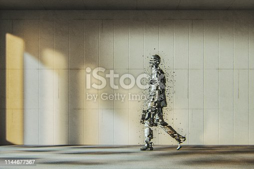 Businessman disintegrating in the modern concrete office. This is entirely 3D generated image.