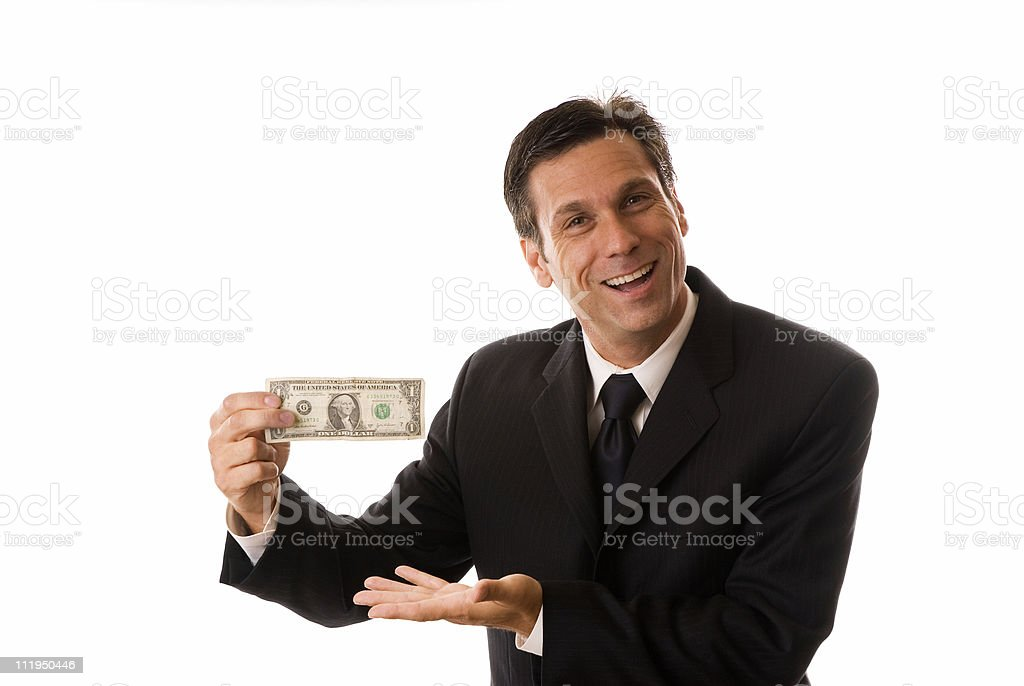 Businessman Displaying Dollar Bill with Goofy Expression on White royalty-free stock photo
