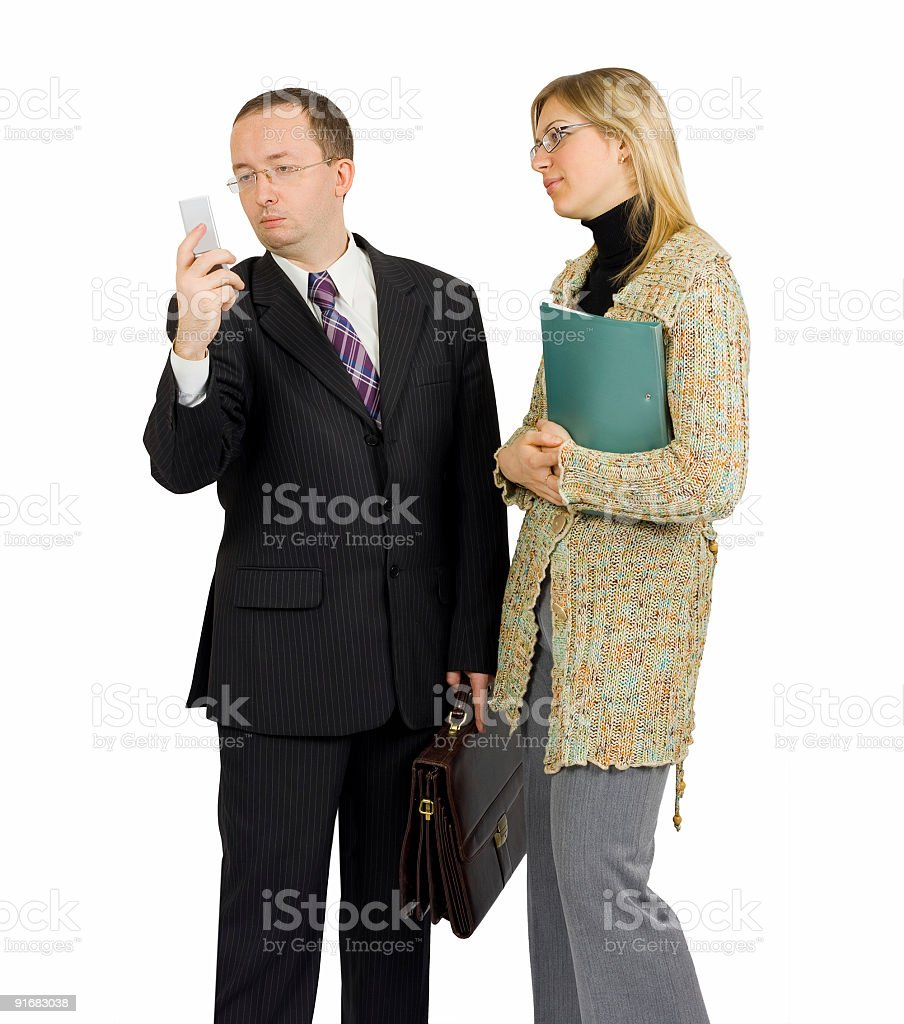 businessman distracted by a phone call royalty-free stock photo
