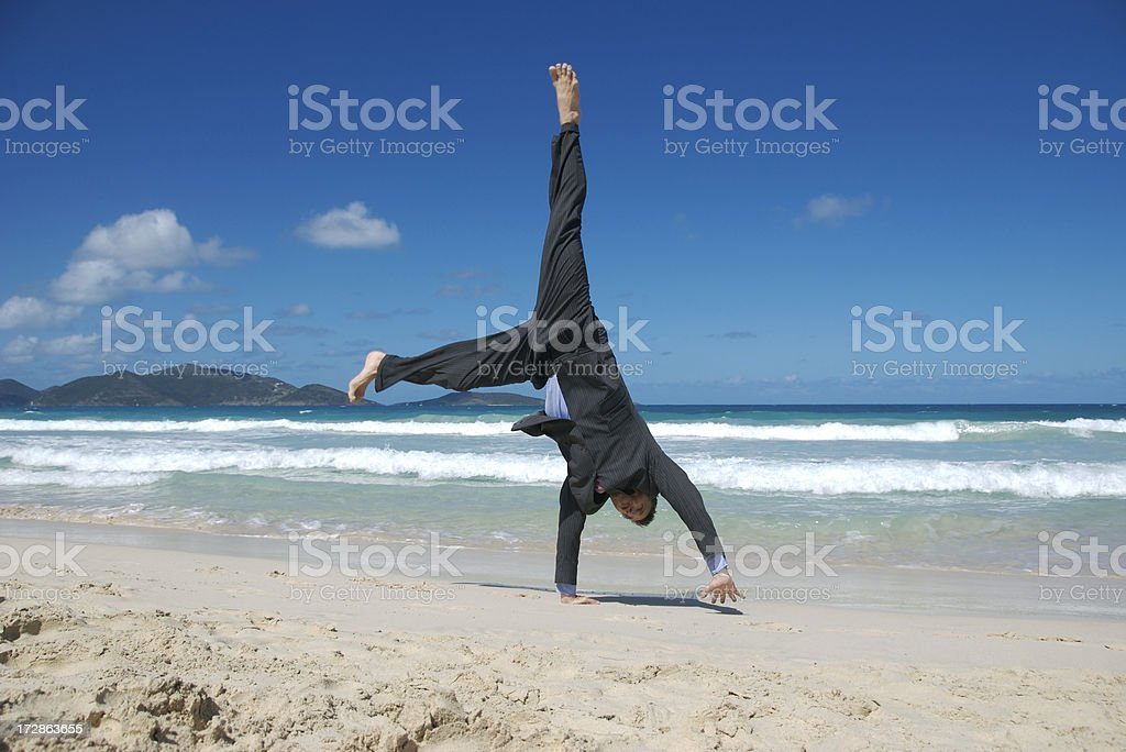 Businessman Does Cartwheels of Excitement royalty-free stock photo