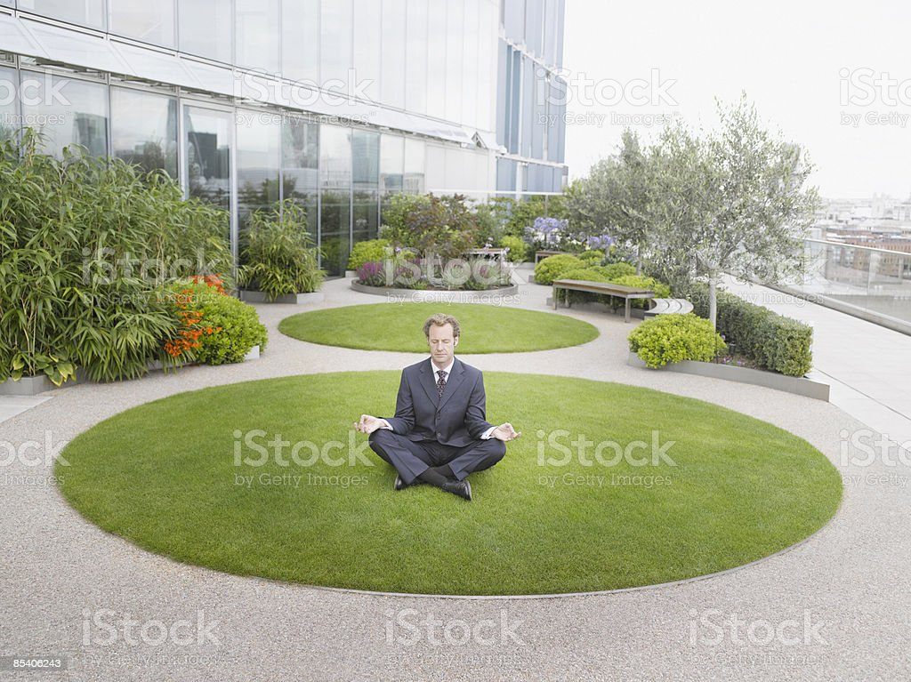 Businessman doing yoga on grass royalty-free stock photo