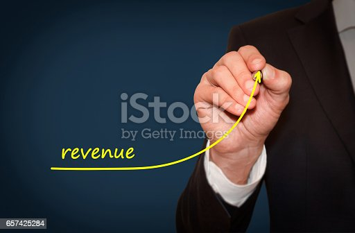 istock Businessman draw growing line symbolize growing revenue 657425284