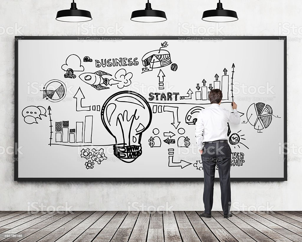 businessman drawing a business flowchart on the whiteboard stock photo