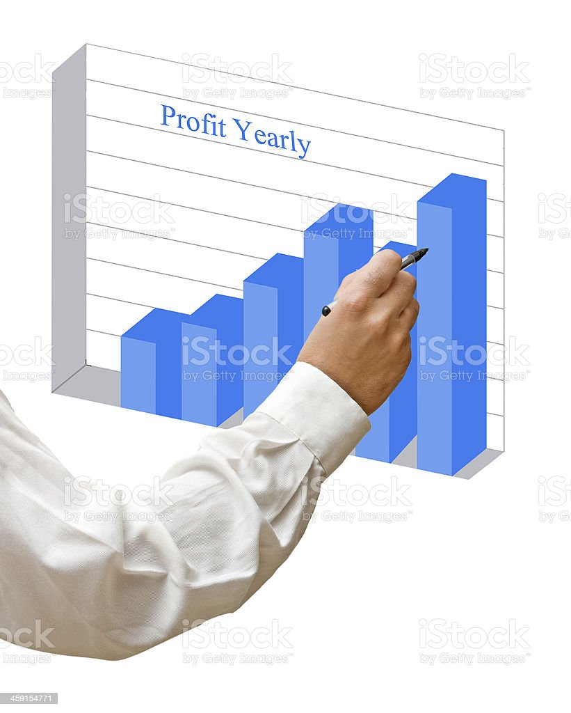 Businessman drawing a chart royalty-free stock photo