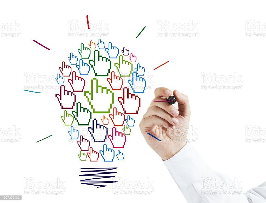 Businessman Drawing a Cursor Hand Idea Bulb stock photo
