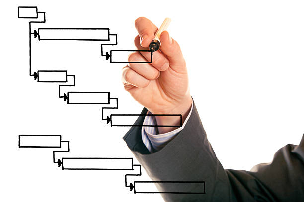 businessman drawing a gantt chart businessman drawing a gantt chart, a tool often used for project planning and management gantt chart stock pictures, royalty-free photos & images