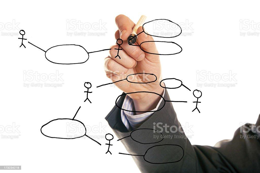 businessman drawing a UML use case diagram stock photo