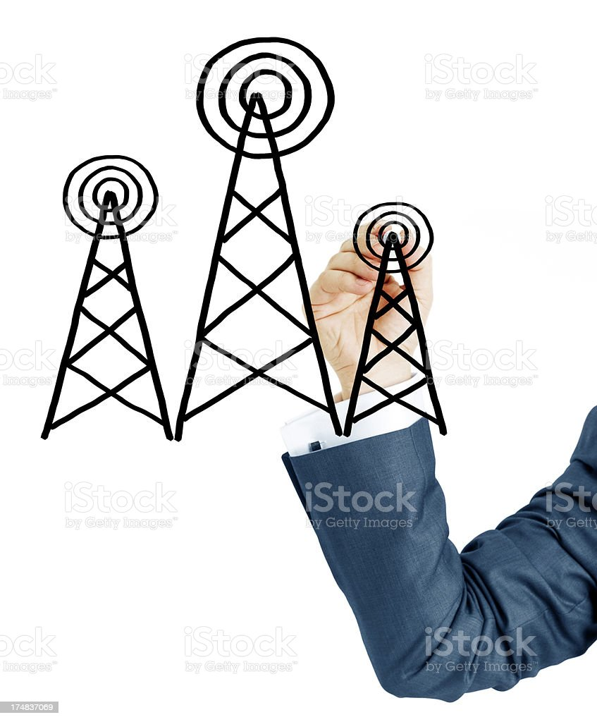 Businessman Drawing antenna royalty-free stock photo