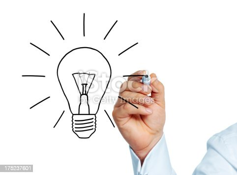 istock Businessman drawing bulb 175237601