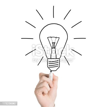 istock Businessman drawing bulb 175256967