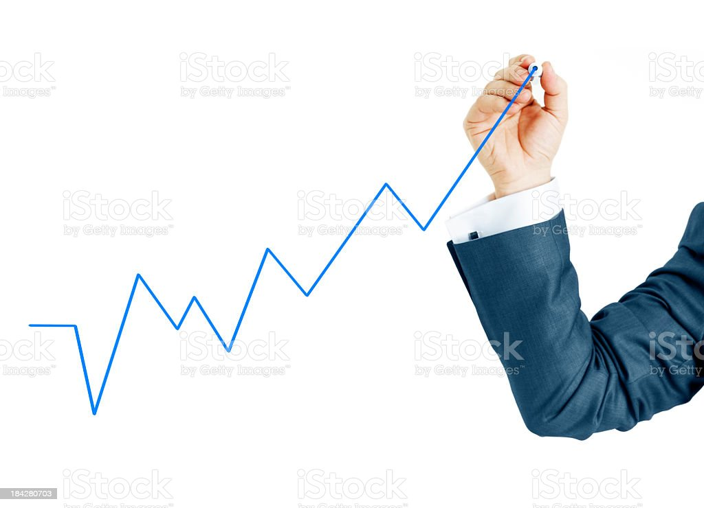 Businessman drawing chart royalty-free stock photo