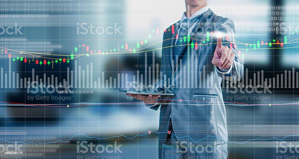 businessman drawing chart, stock marketing concept - foto de stock