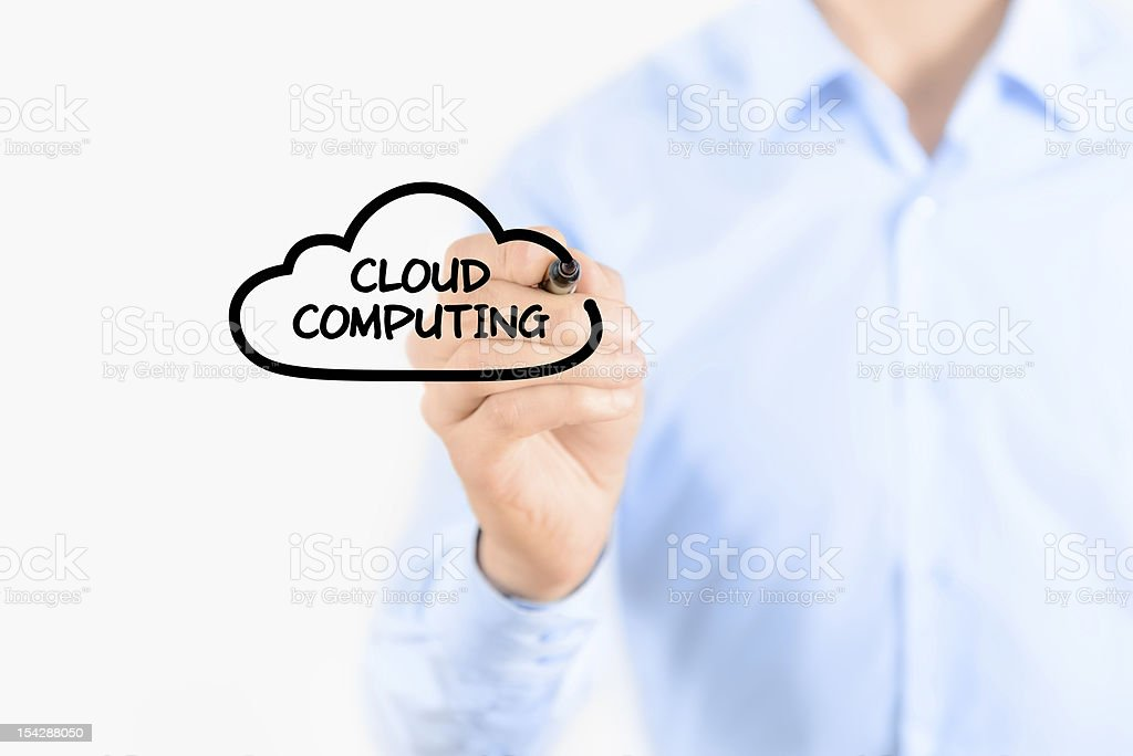 Businessman drawing cloud computing concept royalty-free stock photo