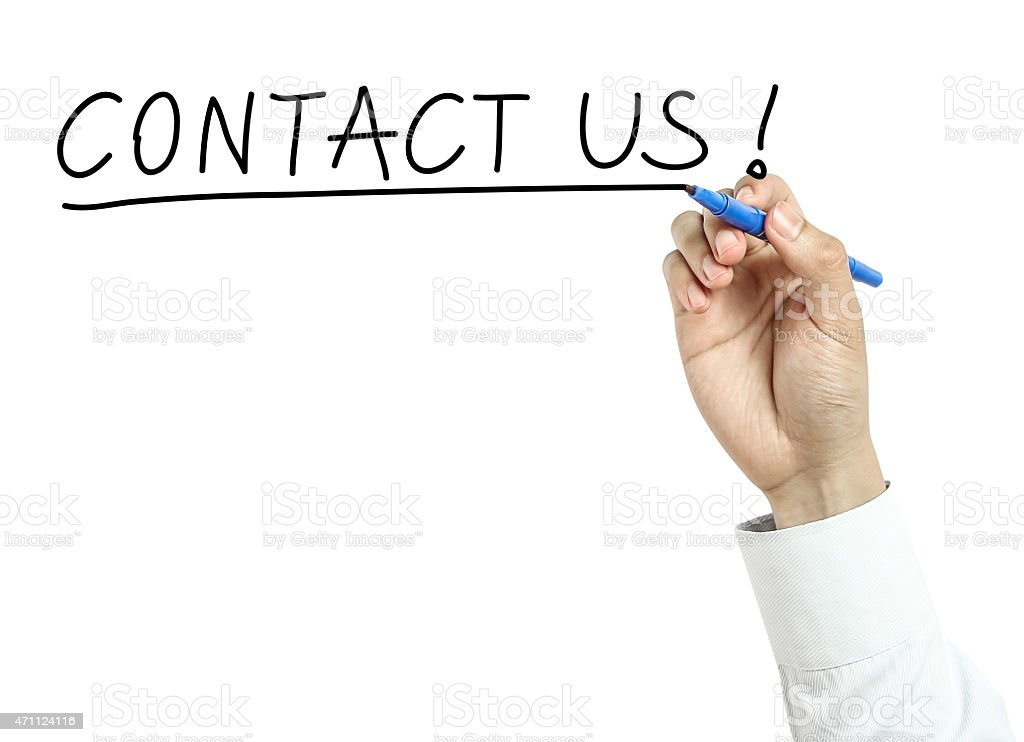 Businessman drawing contact us concept stock photo