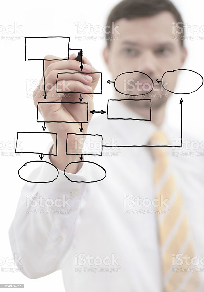businessman drawing empty diagram royalty-free stock photo