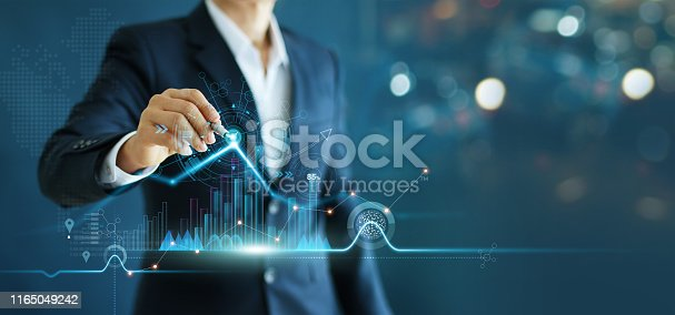 Businessman drawing growth graph chart sales and data economic on global structure networking connection.