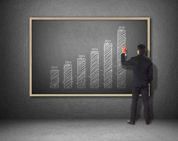 businessman drawing increasing graph, year over year, YOY businessman drawing increasing graph, year over year, YOY annually stock pictures, royalty-free photos & images
