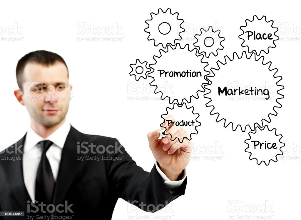 Businessman drawing marketing concepts on screen royalty-free stock photo