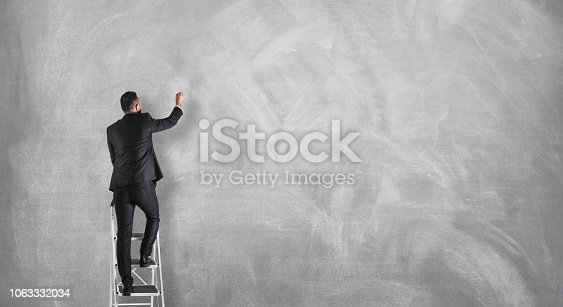 istock Businessman drawing on a blank concrete wall, announcement concept 1063332034