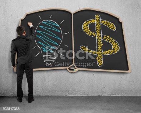 istock businessman drawing on book shape blackboard 505517333