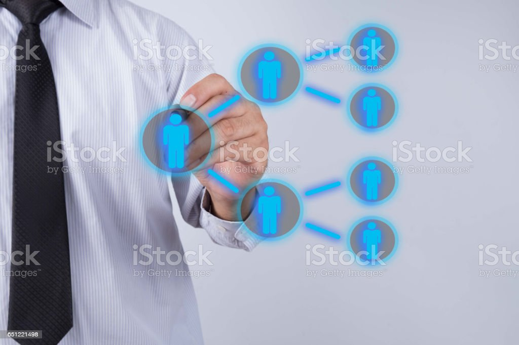 Businessman drawing Referral system concept. stock photo