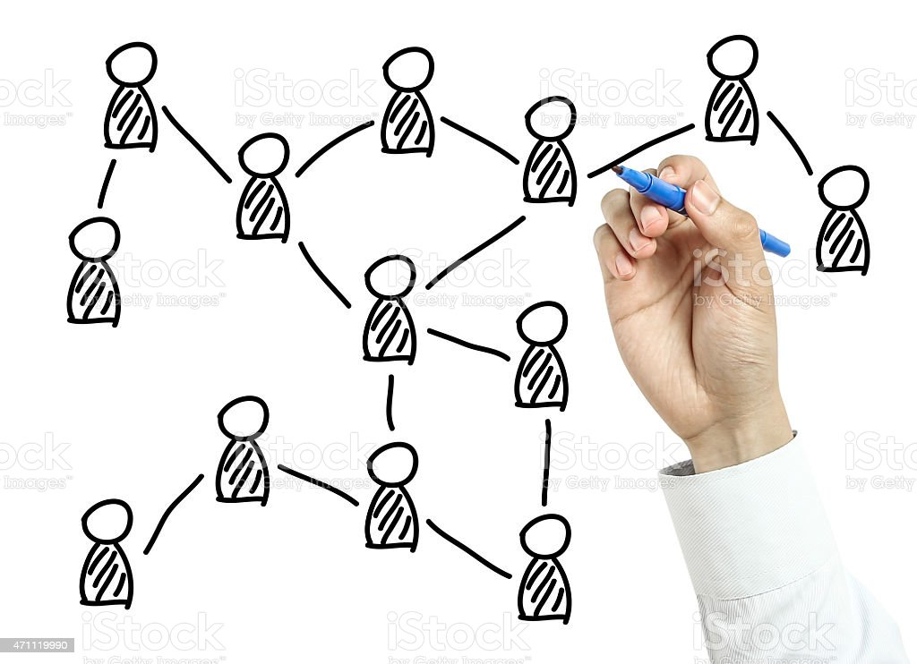 Businessman drawing social network concept stock photo