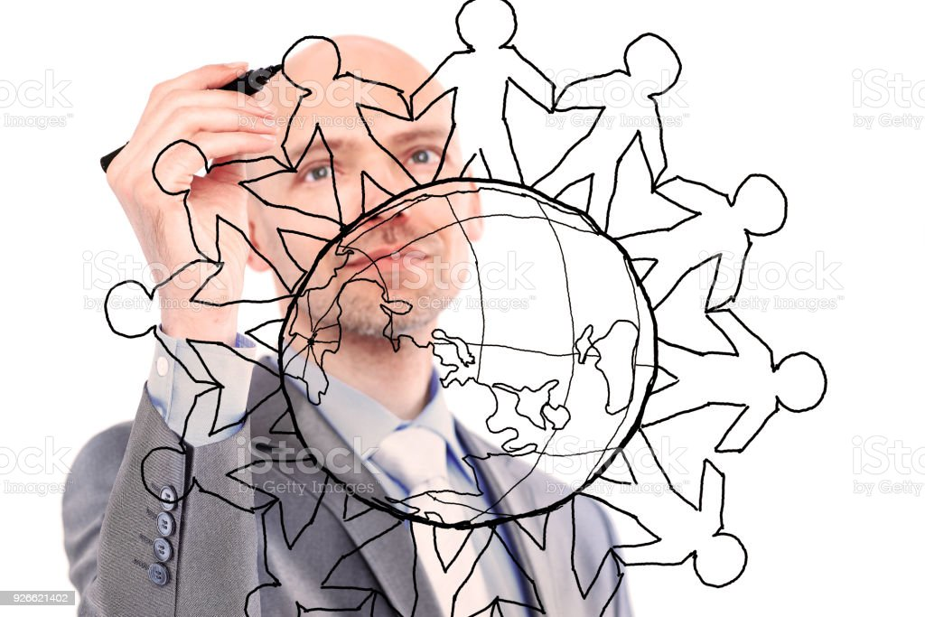 businessman drawing the world map stock photo