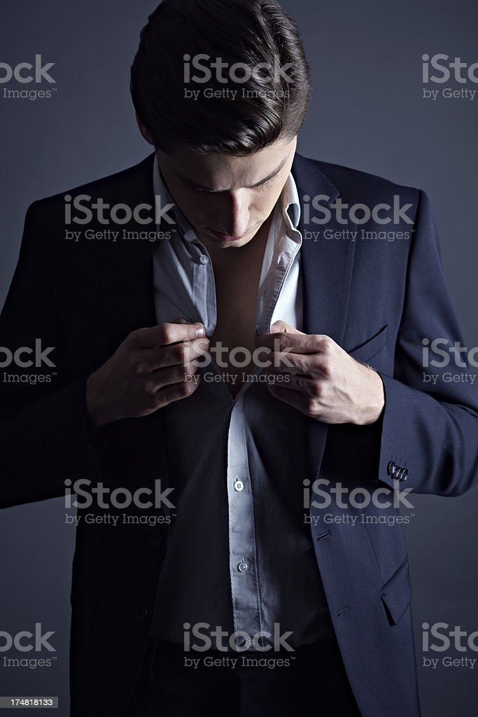 Businessman dressing up stock photo
