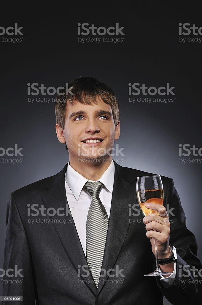 남자 사업가 술마시기 글래스 화이트 와인 royalty-free 스톡 사진