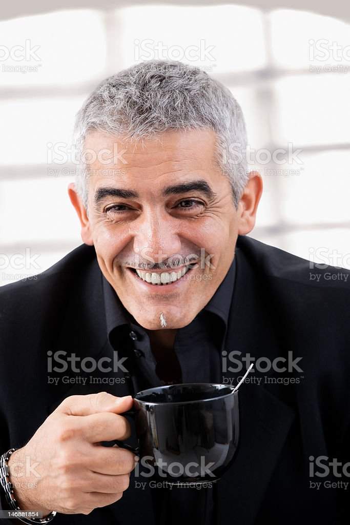 Businessman drinking tea royalty-free stock photo