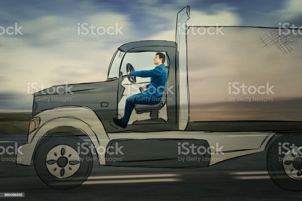 businessman driving an imaginary truck royalty-free stock photo