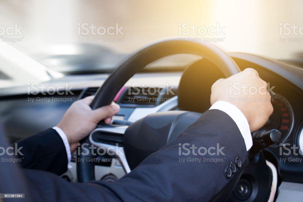 Businessman driving his car stock photo