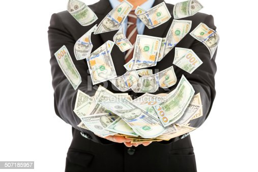 businessman earns us dollar with money rain with white background