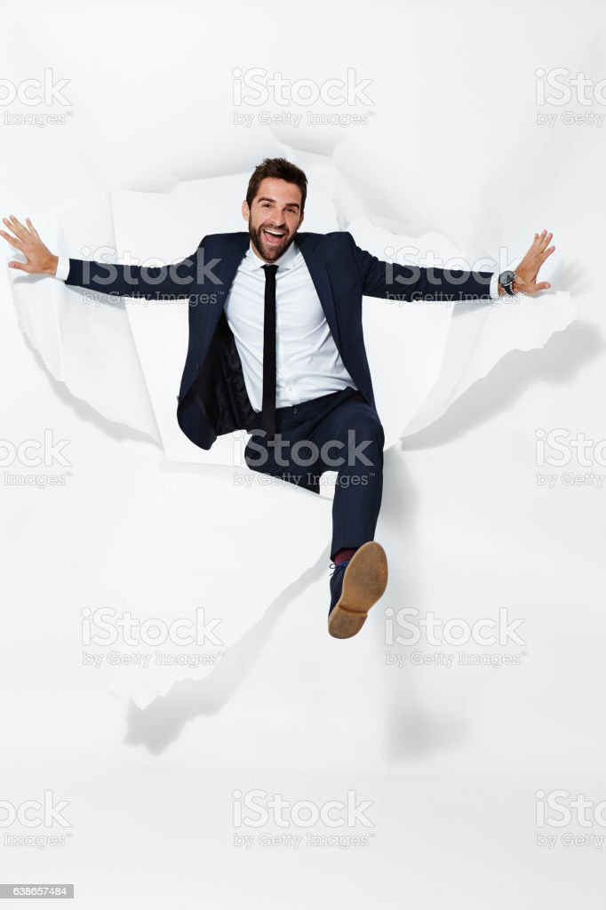 Businessman emerging stock photo