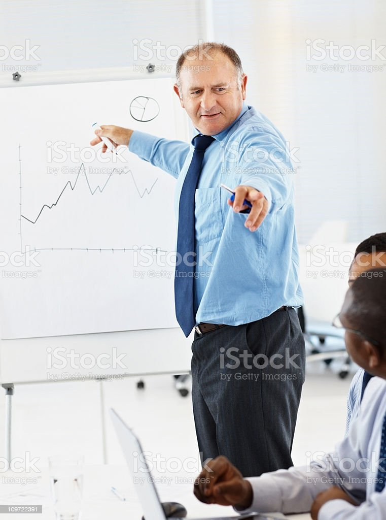 Businessman explains financial chart on whiteboard to colleagues royalty-free stock photo