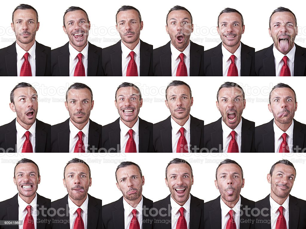 Businessman facial expressions stock photo