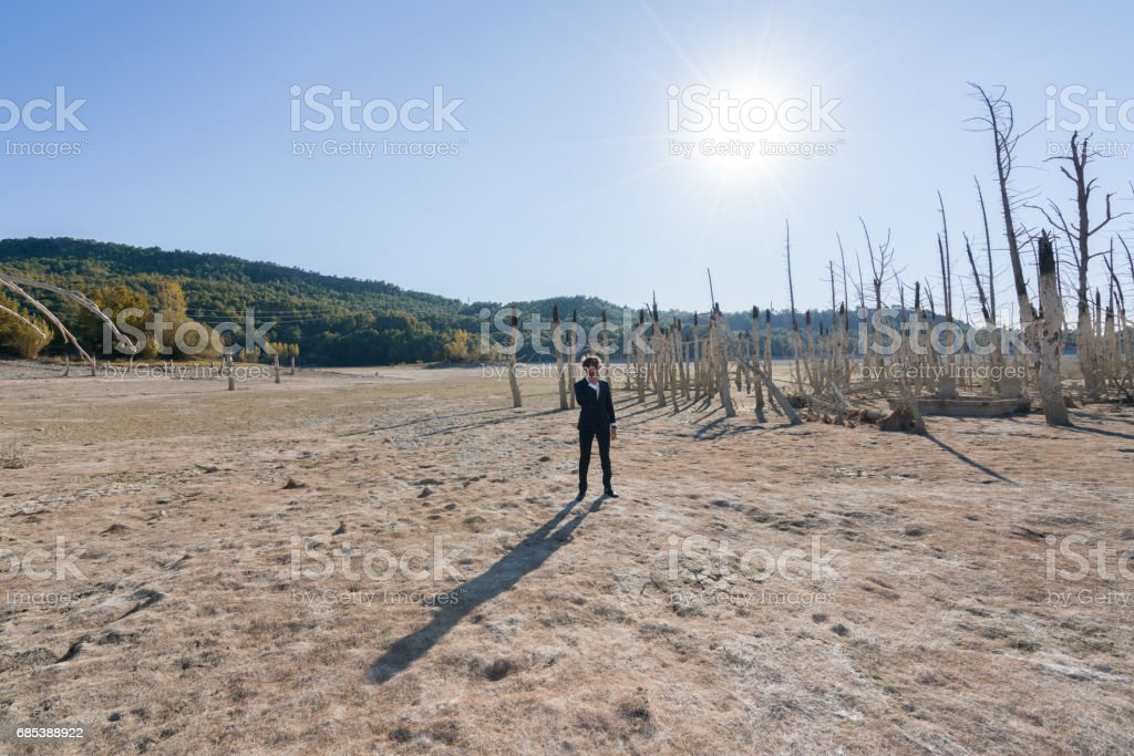 Businessman ,fashion model standing on cracked earth zbiór zdjęć royalty-free