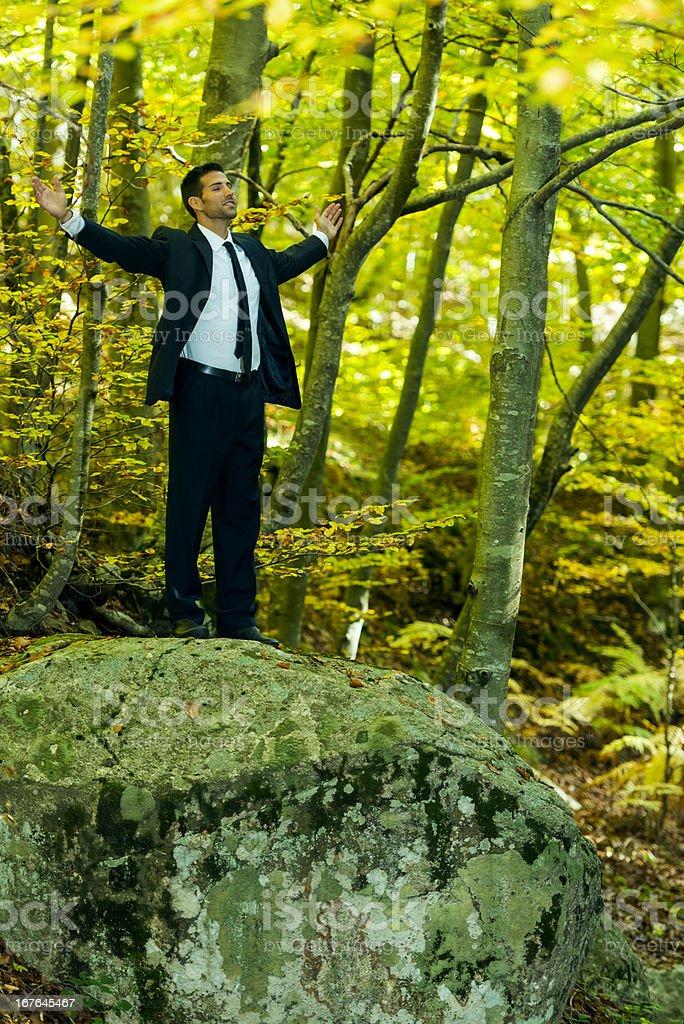 Businessman feeling peace royalty-free stock photo