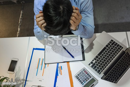 istock Businessman feels over-stressed and exhausted because of working under high-pressure 495664346