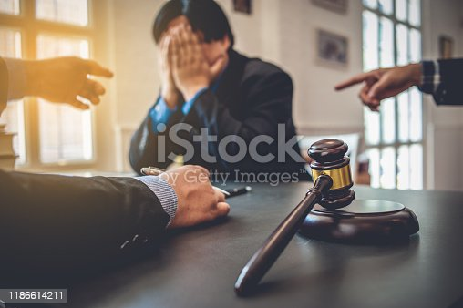 istock Businessman feels stressed when filed for bankruptcy, bankruptcy and execution concept. 1186614211