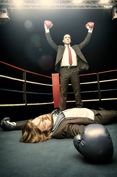 Businessman fight stock photo