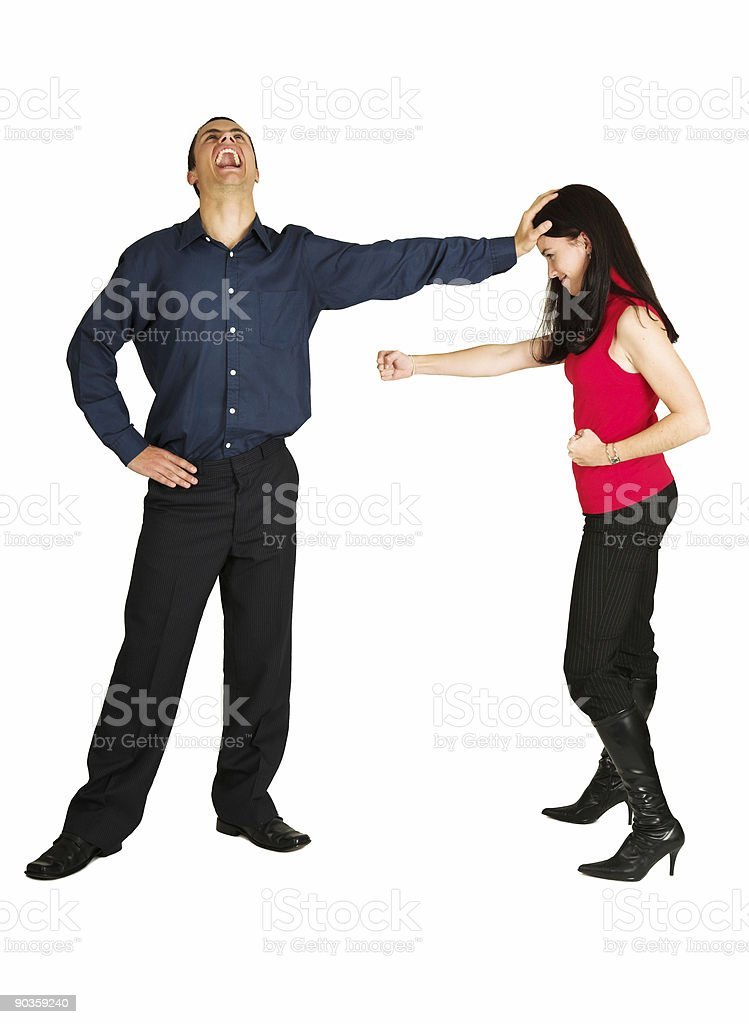 Businessman fighting with businesswoman on white background royalty-free stock photo
