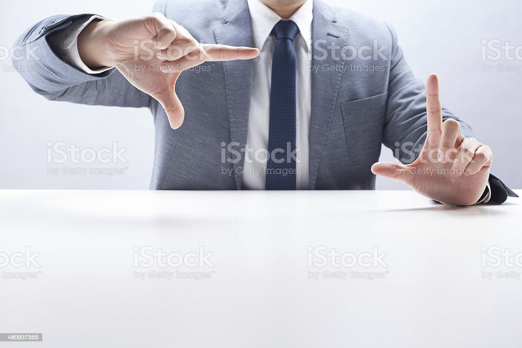 Geschäftsmann Finger Frame Lizenzfreies stock-foto