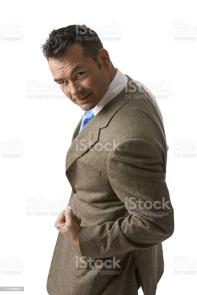 Businessman flexing his arm royalty-free stock photo