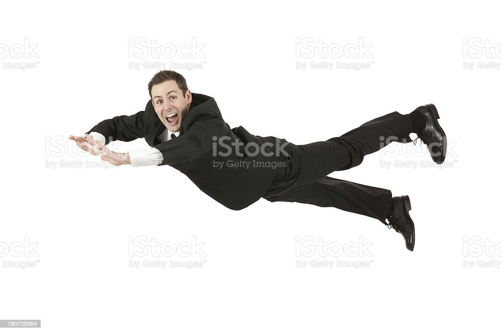 Businessman flying royalty-free stock photo