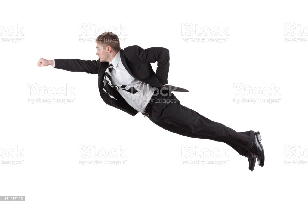 Businessman flying stock photo