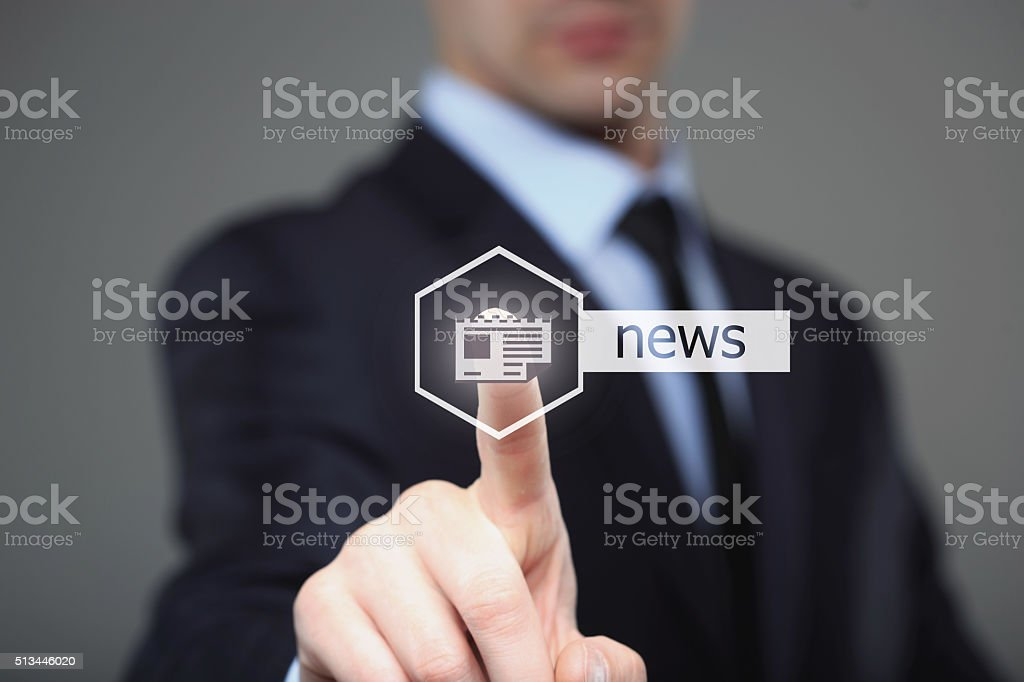 Businessman, Focus on hand pressing news button. virtual screens stock photo