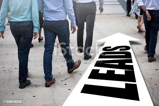 Businessman(s) follows right way - LEADS / Arrow concept (Click for more)