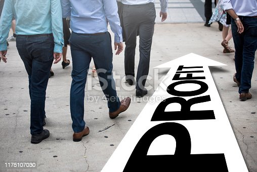 Businessman(s) follows right way - PROFIT / City concept (Click for more)